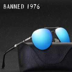 2a1982d8887 BANNED 1976 Aluminum Magnesium Driving Sun Glasses Men s Classic Brand  SunglassesBrand Designer Polarized Sunglasses