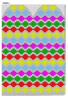 "Вязание. Жаккард - ""Зимняя радуга"" Knitting Charts, Knitting Stitches, Hand Knitting, Knitting Patterns, Knitted Mittens Pattern, Knit Mittens, Knitted Gloves, Crochet Chart, Knit Or Crochet"