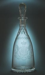 Russian Cut Glass Decanter with engraved coat of arms