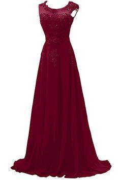 Gorgeous Bride Modisch Lang Rundkragen A-Linie Chiffon Tuell Spitze Schleppe Abendkleider Festkleider Ballkleider -40 Wassermelone