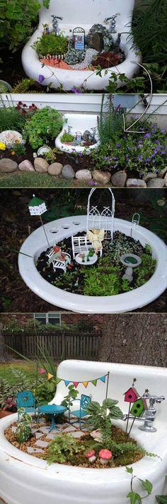 Broken Bathroom Sink Fairy Garden