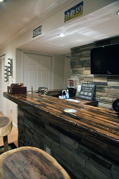 looking for a reclaimed wood countertop & stone bar combo