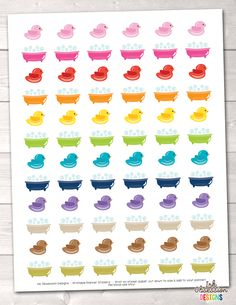 Bath Time and Rubber Ducks Printable Planner Stickers – Instant Download PDF for your Erin Condren Life Planner
