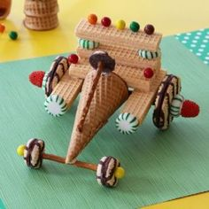 A little car made out of wafers, mints, an ice-cream cone, gumdrops, M's or Skittles, Keebler Elf Fudge Stripe cookies, and Keebler Elf Fudge Stripe Mini cookies