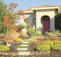 A No Lawn Landscape With Great Red Door Mediterranean Exterior California Front