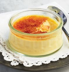 Crème Brûlée - In a word – decadent! This traditional French dessert combines a rich custard base with a crunchy caramel topping. Two desserts per package come ready to heat and serve in re-useable glass ramekins. Traditional French Desserts, Meat Shop, Food Retail, Gelatine, Yule Log, Creme Fraiche, Calories, Convenience Food, Rice Recipes