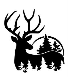 Hirsch Silhouette, Silhouette Clip Art, Animal Silhouette, Wood Burning Stencils, Wood Burning Patterns, Wood Burning Art, Christmas Ornament Coloring Page, Deer Stencil, Advent Calendars For Kids