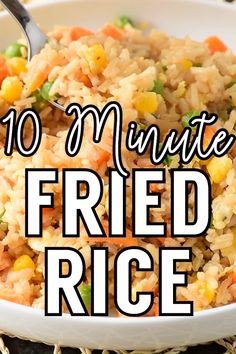 10 Minute Simple Egg Fried Rice – – You are in the right place about Easy Recipes asian Here we offer you the most beautiful pictures about the Easy Recipes desert you are looking for. When you examine the 10 Minute Simple Egg Fried Rice – – … Easy Rice Recipes, Easy Healthy Recipes, Lunch Recipes, Easy Dinner Recipes, Breakfast Recipes, Vegetarian Recipes, Recipes With Minute Rice, Easy To Cook Recipes, Simple Rice Recipes
