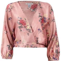 Sans Souci Mauve floral surplice satin top ($29) ❤ liked on Polyvore featuring tops, mauve, red pullover, floral print tops, pullover top, red top and sweater pullover