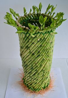 Jumbo Lucky Bamboo twisted design 16'' tall and 4.5'' in width from JM Bamboo