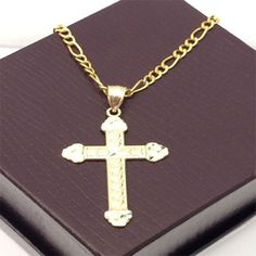 Religious 10k yellow Gold Jesus Cross Diamond Cut Pendant Charm Figaro Chain by RG&D