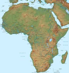 Africa, Physical Map - Travel