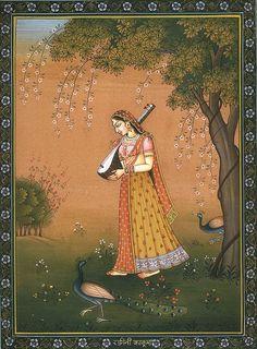 Ragini Kakubha, Hindu Water Color on PaperArtist: Kailash Raj Pichwai Paintings, Mughal Paintings, Indian Art Paintings, Rajasthani Painting, Rajasthani Art, Madhubani Art, Madhubani Painting, Mughal Miniature Paintings, Indian Traditional Paintings