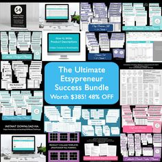 Etsypreneur success bundle ultimate etsy tool resource ebook spreadsheet inventory business planner blog planner finance budget binder organize empire entrepreneur online business, book, tool, advice, direct sales, spreadsheet, inventory, income and expenses, cost of goods sold, budget binder, product collage, business planner, business plan, template, form, worksheet, pricing calculator, how to write sales copy, how to write product descriptions, finance printable, business plan template…