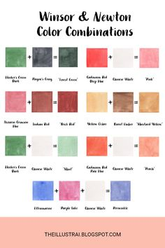 A guide to my current favorite color mixtures and how to recreate them using Winsor & Newton Cotman watercolors.