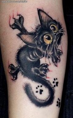 Creepy Drawings, Creepy Tattoos, 3d Tattoos, Body Art Tattoos, Scratch Tattoo, Black Cat Art, Black Cats, Voodoo Doll Tattoo, Skin Drawing