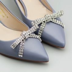 2 Pcs Rhinestone Crystal Bow Bridal Wedding Shoes Shoe Clips #Crystal #Modern