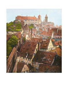 Bavarian town 1900 in Colour
