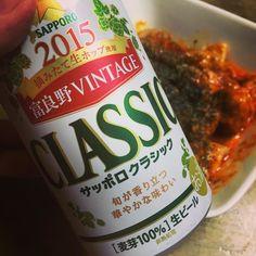 クラシックとチキントマト煮込み クラシックが一番好きです(_) #晩ごはん #サッポロビール #サッポロクラシック