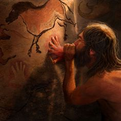 Early-human creating cave art