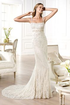 More stunning wedding gowns from Atelier Pronovias 2014 bridal collection. Above and below, Yanguas shirt-style dress with short sleeves in rebrodé lace Ivory Lace Wedding Dress, Wedding Dresses With Straps, Wedding Dresses 2014, Designer Wedding Dresses, Bridal Dresses, Wedding Gowns, Bridesmaid Dresses, Tulle Wedding, Dress Lace