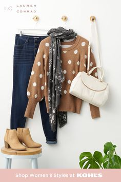 Whether you're a student or a teacher, back-to-school days are here: the perfect time for a fall wardrobe update. Start with a clear canvas: you. Pick a pair of jeans to fit your style (all of LC Lauren Conrad's denim is sustainably sourced, yay!). Add a warm sweater and a fun wrap for breezy days. Slip on a pair of tan booties and complete your look with a roomy shoulder bag to keep all your stuff handy. Shop back-to-school outfits and more at Kohl's and Kohls.com. Layering Outfits, Simple Outfits, Fall Outfits, Cute Outfits, Fashion Outfits, Cozy Fashion, Trendy Fashion, Winter Fashion, Back To College Outfits