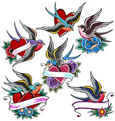 Swallow tattoo set vector 586947 by paul_june