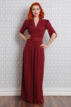 Original 1940s lounging jumpsuits are extremely difficult to find, this is an excellent reproduction, however I personally wear it with a different belt. They are extremely long and are great if you are taller and needing long-length friendly options.