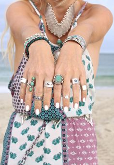 Gypsy style necklace, boho chic dress, modern hippie turquoise  silver rings. For the BEST Bohemian fashion trends FOLLOW http://www.pinterest.com/happygolicky/the-best-boho-chic-fashion-bohemian-jewelry-gypsy-/ now