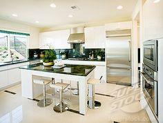 Stock Photo #4053-2518, Modern white kitchen with green granite countertops