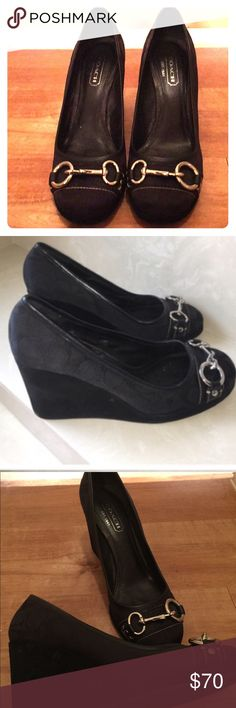 Real Coach Signature Wedges Real Coach Signature Wedges (only worn once) Coach Shoes Wedges