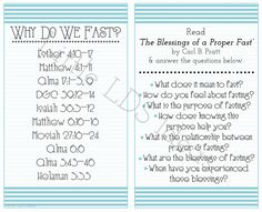 Little LDS Ideas {Come Follow Me} September 'Come Follow Me' Handouts: Why Do We Fast?