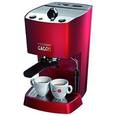 Espresso Machine Maker Gaggia Espresso Color Red Semi Automatic great italian coffee maker that has a steep learning curve. perfect for fabulous espresso, americano, and lattes. we've named it lady gaggia. Cappuccino Maker, Cappuccino Coffee, Cappuccino Machine, Espresso Maker, Coffee Maker, Latte Machine, Coffee Type, Coffee Pods, Coffee Beans