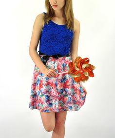 Look at this Cobalt Lace Floral A-Line Dress on #zulily today!