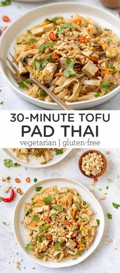 This is the BEST Tofu Pad Thai recipe! This healthy dinner is made with seared tofu, bean sprouts, carrots and a delicious peanut sauce. Vegetarian, gluten-free and so easy to make. Served with rice noodles and tastes like takeout!