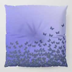 20% Off #Pillows Today!  Free #Worldwide Shipping Today! #Butterflies, #butterfly Horde ;) flying insects themed #pattern, #violet #blue and #purple, #vector #design #floor #pillow #society6