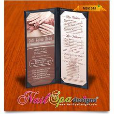 Menu book template for Nail Salon. Visit www.NailSpaDesigns.com/catalog for more Nail Spa printing templates #NailSpaDesigns