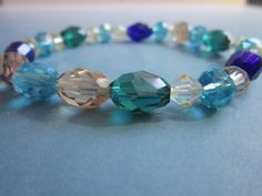 Aqua Mix Glass Bead/Turquoise Rhondelle by BeadazzlingButterfly, $15.00