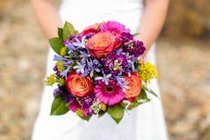 This colorful bouquet complemented the warm golden aspen leaves #Breckenridge #Florist #Flowers #Wedding  Florals by Petal & Bean Breckenridge, CO