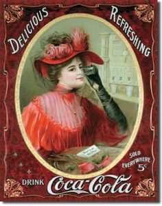 Coke Coca Cola Victorian Red Dress TIN SIGN 5 cent