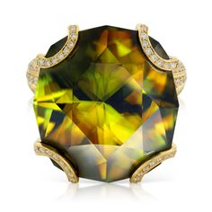 KAT FLORENCE record sized Madagascar Sphene - originally 50 carats we recut this beautiful stone to 31.42 carats increasing the incredible fire you see.