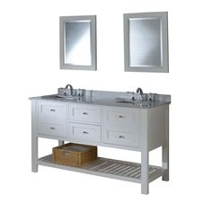 60 in Mission Spa Style Double Bathroom Vanity Sink Console with white Carrara marble top and pearl white finish perfectly combines contemporary and traditional styles for your bathroom The pearl white finish wood vanity cabinet features two center drawers and 2 doors with false drawer fronts to
