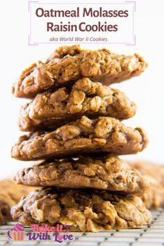 Oatmeal Molasses Raisin Cookies (World War II Cookies) Pancakes Oatmeal, Oatmeal Dessert, Molasses Cookies, Oatmeal Raisin Cookies, Good Healthy Recipes, Healthy Foods To Eat, Sweet Recipes, Healthy Eating, Crackers