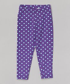 This Purple & Blue Polka Dot Leggings - Toddler & Girls is perfect! #zulilyfinds