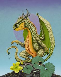 Cantaloupe Dragon by Stanley Morrison - Garden Dragons Little Dragon, Baby Dragon, Dragon 2, Fire Dragon, Magical Creatures, Fantasy Creatures, Fantasy Kunst, Fantasy Art, Dragon Series