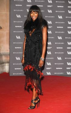 Naomi Campbell in Roberto Cavalli at Victoria & Albert Museum Opening Gala for 'The Glamour of Italian Fashion' exhibition