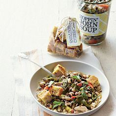 Hoppin' John Gift Tag | Bestow good luck with a soup of good-for-you peas and collards shot through with smoky flavor. Finish it off with a custom gift tag. | SouthernLiving.com