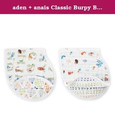 aden + anais Classic Burpy Bib 2 Pack, Paper Tales. Made with 100% cotton muslin, our patented classic burpy bib keeps you and your little one clean. The generously sized, absorbent fabric drapes over your baby's shoulders and snaps at the back for a breathable bib that catches the sneakiest of side dribbles. It also doubles as a no-slip burp cloth with its kidney shape that sits just so right over your shoulder. The messier our classic burpy bib gets, the better. Our muslin is pre-washed…