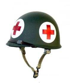 Old Army Medic Helmet- I'd like to have one of these displayed at home. Military Party, Military Gear, Military Equipment, Military Life, Military Aircraft, Army Helmet, Combat Helmet, Army Medic, Combat Medic