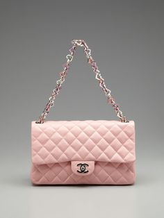"Chanel Heart Chain Classic Flap Shoulder Bag in ""Baby Pink"" / Gilt"